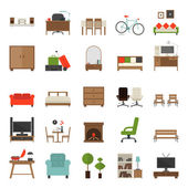 Furniture Icons Flat Design — Stock Vector
