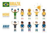 Brazil soccer team charactor — Stock Vector