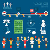 Soccer players character and icons — Stock Vector