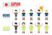 Japan soccer team character — Stock Vector