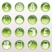 Set of icons of green color on a subject bank. — Stock Vector