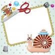 Frame with snail the seamstress with scissors, a pillow, a pin, buttons, threads. — Stock Vector