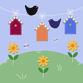 Starlings fly over houses. — Stock Vector