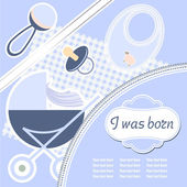 Baby boy announcement card. — Stock Vector