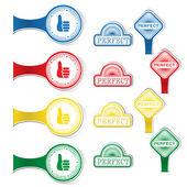 Perfekt - gratis klistermärken på vit bakgrund. — Stockvektor