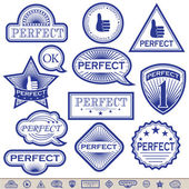 Blue Labels 'Perfect'. — Stock Vector