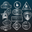 Silver Labels 'Perfect'. - Stock Vector