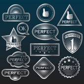 Silver Labels 'Perfect'. — Stock Vector