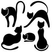 Set of black cat silhouette. — Stock Vector