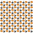 Stock Vector: Halloween background. Hats and pumpkins on white background.