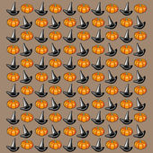 Halloween background. Hats and pumpkins on brown background. — Stock Vector