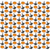 Halloween background. Hats and pumpkins on white background. — Stock Vector