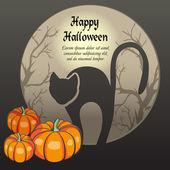 Karte mit Halloween-hintergrund mit schwarzen Katze und Kürbisse. — Stockvektor