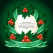 New Year Theme. Card with Christmas wreath on Green Background. — Stock Vector
