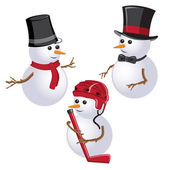 New Year Theme. Set of snowmen on White Background. — Stock Vector