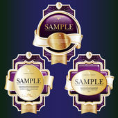 Set of lilac ornate labels with Gold and White Tapes. — Stock Vector
