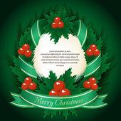 Año nuevo tema. tarjeta con guirnalda de navidad sobre fondo verde. — Vector de stock