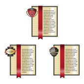 Set of Gold ornate labels with Red Tapes. — Stock Vector