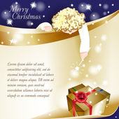 Año nuevo tema. tarjeta de navidad con un ángel sobre fondo azul. — Vector de stock