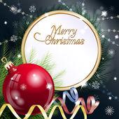 Año nuevo tema. tarjeta con esfera roja, serpentinas y confeti sobre fondo oscuro. — Vector de stock