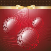 New Year Theme. Card with New Year's spheres, gold ribbon and gold bow on red Background. — Stock Vector