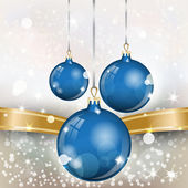 New Year Theme. Card with New Year's blue spheres, gold ribbon and confetti on light Background. — Vector de stock