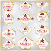 New Year Theme. Set of white ornate labels. — Stock Vector