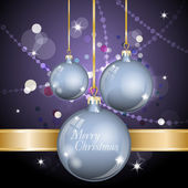 New Year Theme. Card with New Year's blue spheres, confetti and gold ribbon on purple Background. — Stockvector
