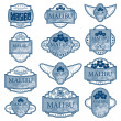 Set of blue ornate labels on white background. — Stock Vector