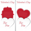 St. Valentine's Day. Two cards with white heart on white Background. — Stock Vector