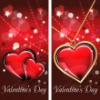 St. Valentine's Day. Two cards with glass red and gold heart on wonderful Background. — Stock Vector