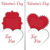 St. Valentine's Day. Two cards with white heart on white Background. — Stockvector