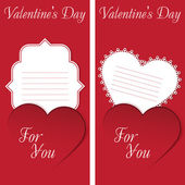 St. Valentine's Day. Two cards with red heart on red Background. — Wektor stockowy