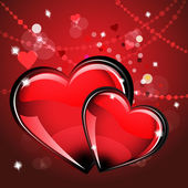 St. Valentine's Day. Card with two glass red hearts on wonderful Background. — Stockvector