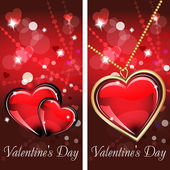 St. Valentine's Day. Two cards with glass red and gold heart on wonderful Background. — Stockvektor