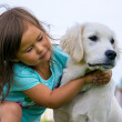 Toddler girl with Golden retriever puppy — Stock Photo