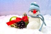 Snowman and Christmas balls — Stock Photo