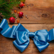 Christmas balls and bow — Stock Photo