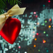 Christmas heart shaped balloon — Stock Photo