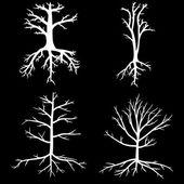 Bäume mit tote äste und wurzeln — Stockvektor
