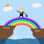Businessman across the rainbow bridge to success. — Stock Vector