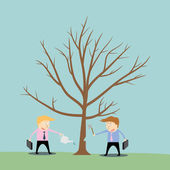 Businessman cutting tree of competitor — Stock Vector