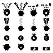 Piggy bank icon set — Stock Vector