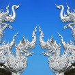 Art architecture of Wat rong khun temple in thailand - Stock Photo