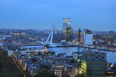 Skyline of the city of rotterdam by night — Stock Photo
