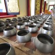Small alms bowl in temple, travel in asia,Thailand - Stock Photo