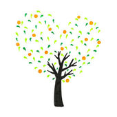 Freehand draw tree with hearts in imagine — Stock Photo