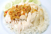 Rice steamed with chicken soup at Thailand — Stock Photo