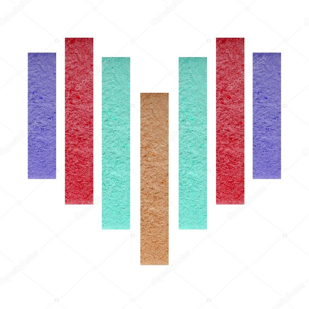 Color paper stick with heart shape on white background — Stock Photo #18360829