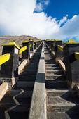 Strairway to Mount Bromo volcanoes in Bromo — Stock Photo